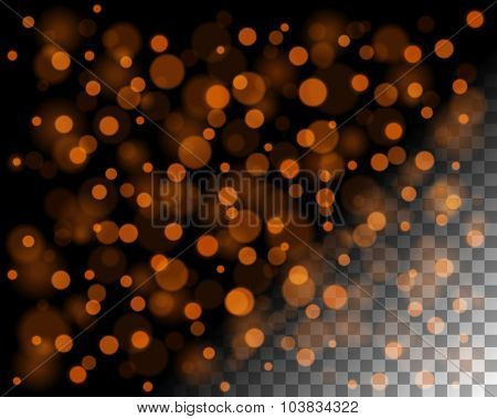 Abstract bokeh lights and sparkles on transparent background vector illustration. Easy replace use to any image.