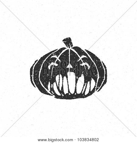 Halloween scary pumpkin face isolated on white vector illustration