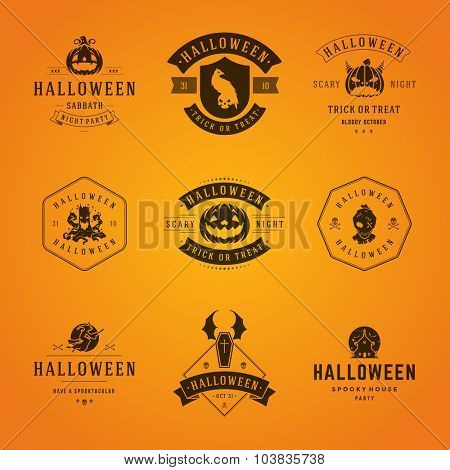 Set Vintage Happy Halloween Badges and Labels, Greetings Cards vector design elements