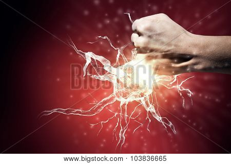 Close up of man hand striking nerve symbol