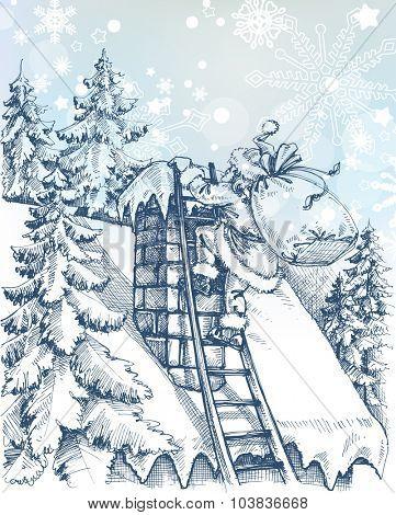 Christmas scene, Santa climbing a chimney