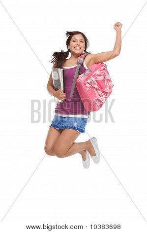 College Student Hispanic Teen With Backpack Jumping