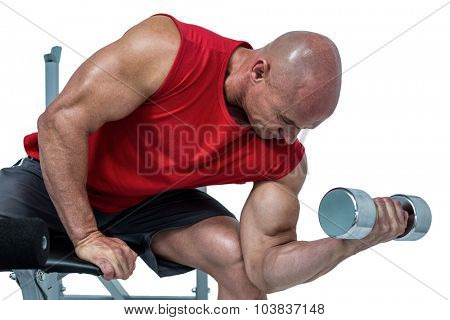 Bald man exercising with dumbbells while sitting on bench press against white background