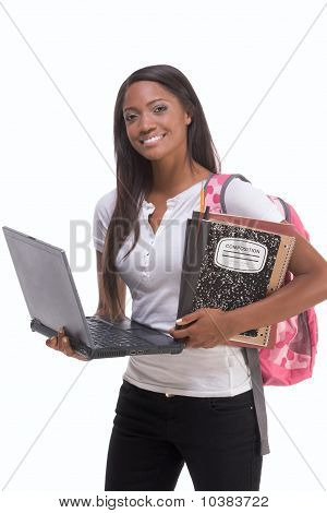 African American College Student com Laptop Pc
