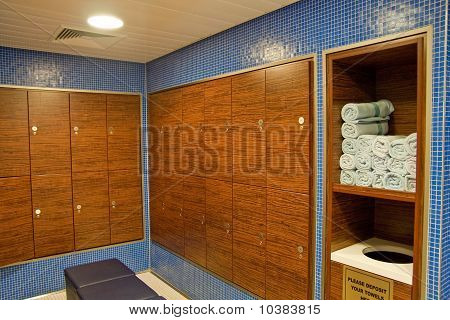 Towels And Wood Lockers In A Spa.