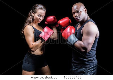 Portrait of male and female athletes with fighting stance against black background