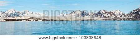 Panorama Of Glacier Above The Sea With Mountains Behind, Svalbard
