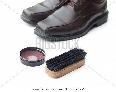 Dark Brown Shoe With Shoe Polish And Brush Shoe