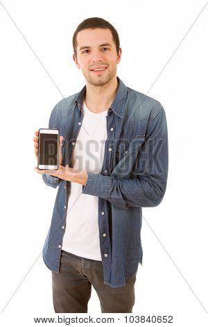 young casual happy man with a phone, isolated