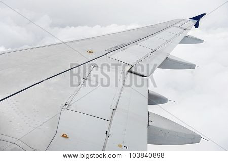 Airplane Wing During Stormy Flight