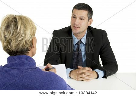 job interview  isolated on white background man and woman
