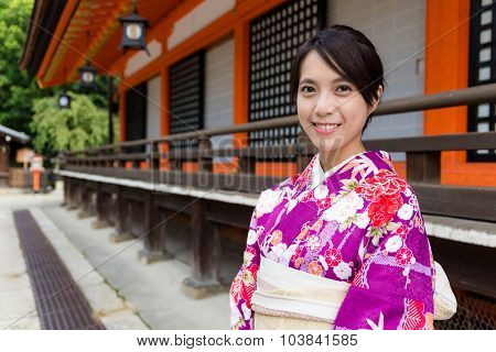 Asian woman in japanese temple