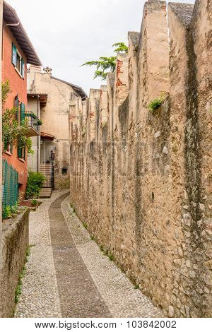 Picturesque small town street view in Malchesine, Lake Garda Italy.
