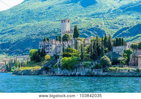 Beautiful peaceful lake Garda, Italy. Malcesine. An Old Town.