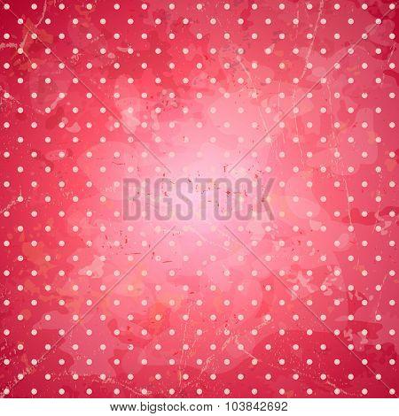Grunge pink polka dots vector backdrop.