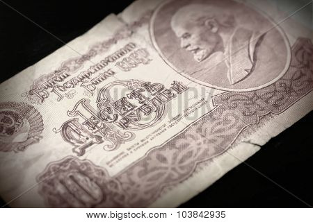 The Old Soviet Banknote Ten Rubles Close Up