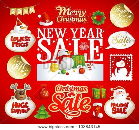 Christmas and New year sale designs, banners, 