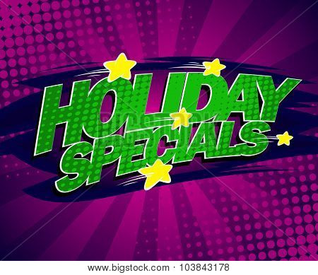 Holiday specials bright violet banner, comic style.
