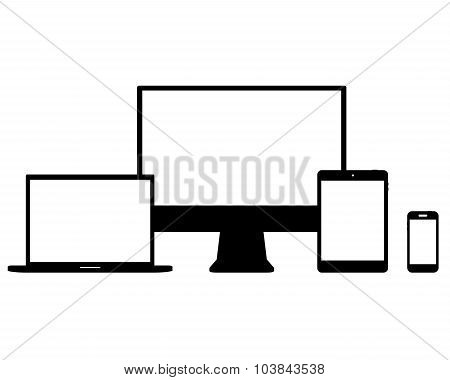 Set of Modern Digital devices Electronic vector