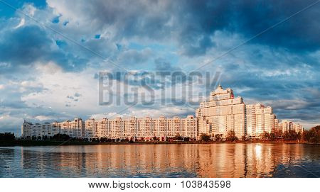 Panoramic View of White Building In Old Part Minsk, Downtown Nya