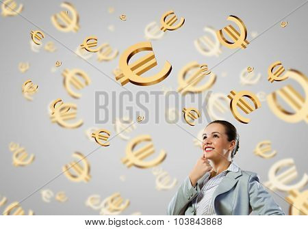 Image of thoughtful businesswoman with euro symbol. Currency concept