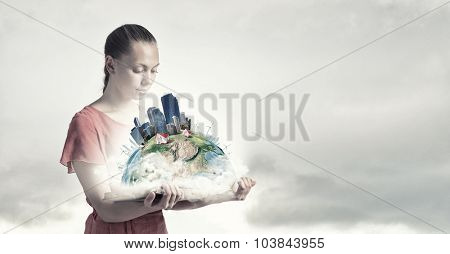 Young woman in red dress with book in hand. Elements of this image are furnished by NASA