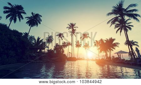 Asian tropical beach during an surrealistic sunset.
