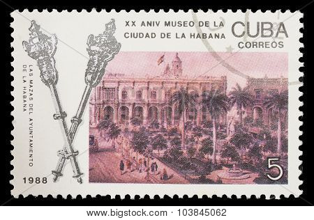 Postage Stamp Printed In Cuba Shows The Havana Museum For The Xx Anniversary