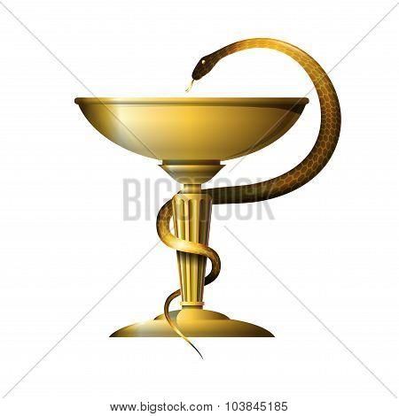 Medicine snake symbol. Metal gold or bronze.