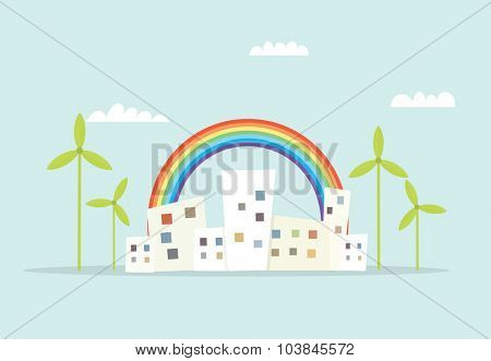 cartoon city with rainbow and windmills