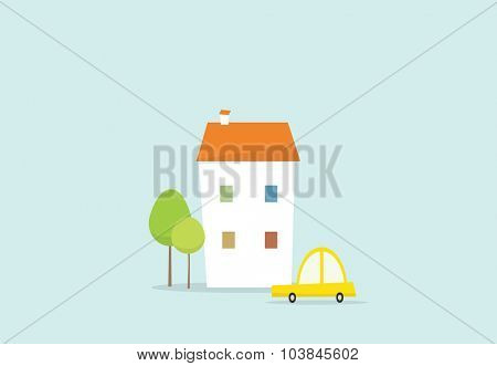 cartoon house and car
