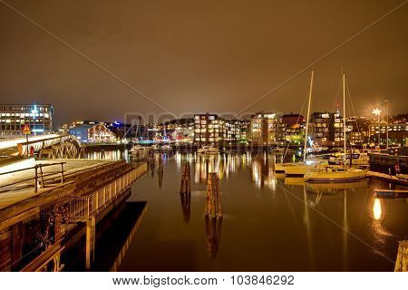 Ships In The Port Of Trondheim, Norway