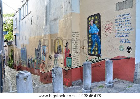 Brussels, Belgium - May 13, 2015: The Painting On The House Wall
