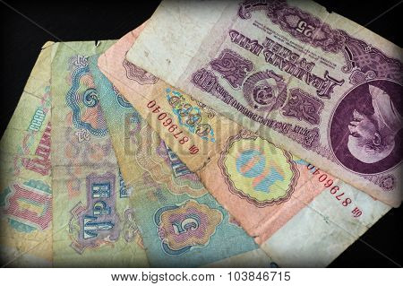 Background From Banknotes Of Old Soviet Rubles