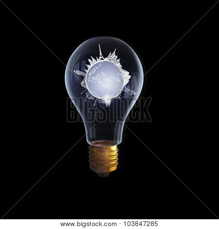 Glass light bulb and traveling concept inside on black background
