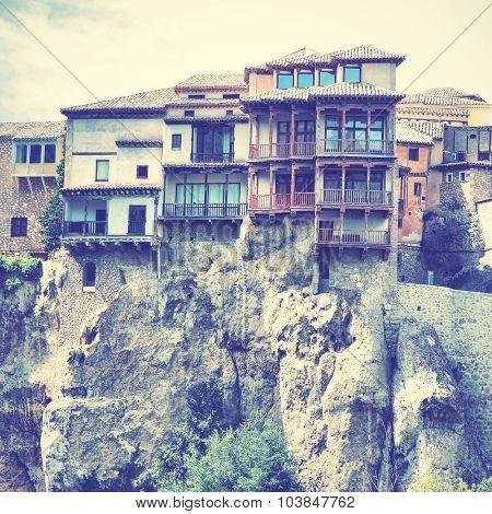 Hanging houses (Casas Colgadas) in Cuenca, Castilla La Mancha, Spain. Instagram style filtered image