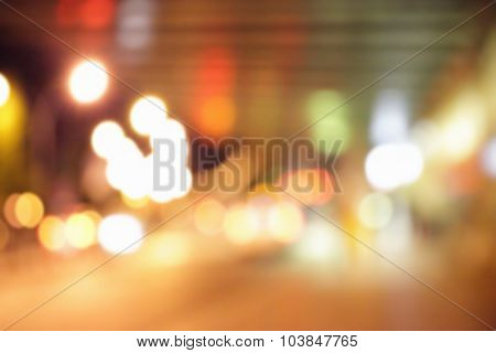 Street lights of airport departure area - defocused blured background
