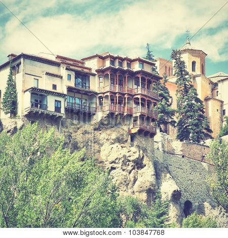 Hanging houses (Casas Colgadas) in Cuenca, Spain. Instagram style filtered image