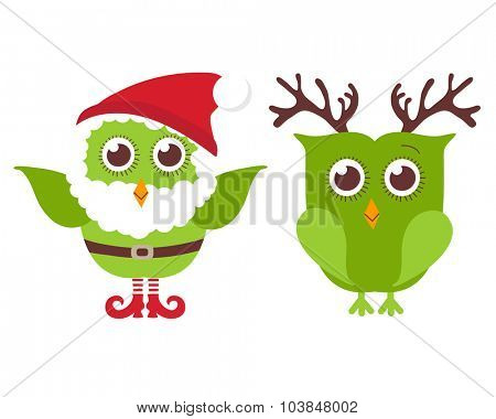 Two cute Christmas owls. One owl in Santa hat and beard and one in reindeer horns. Vector holiday illustration. Christmas card