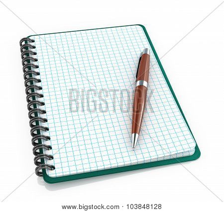 Notepad With A Ballpoint Pen On A White Background.