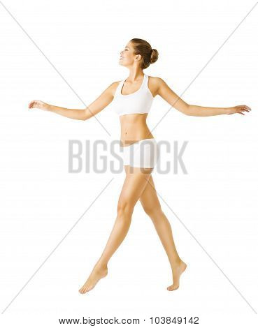 Woman Walking Side, Sexy Girl In Cotton Underwear, People On White
