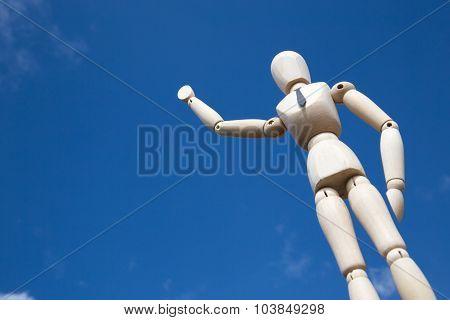 Giant Businessman Puppet Waving