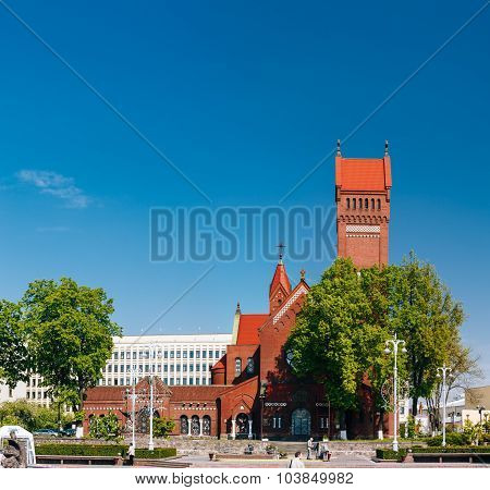 Church Of Saints Simon And Helen - Red Church On Independence Square In Minsk, Belarus