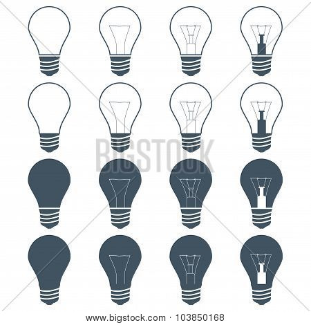 Set Of Incandescent Lamps (bulbs) On The Gray Background. Stock Vector Illustration Eps10