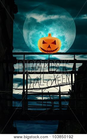 Halloween Pumpkin On Damaged Wooden Bridge, Halloween Background