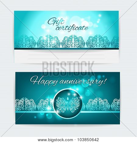 Happy anniversary!Gift certificate. Vector template layout for gift