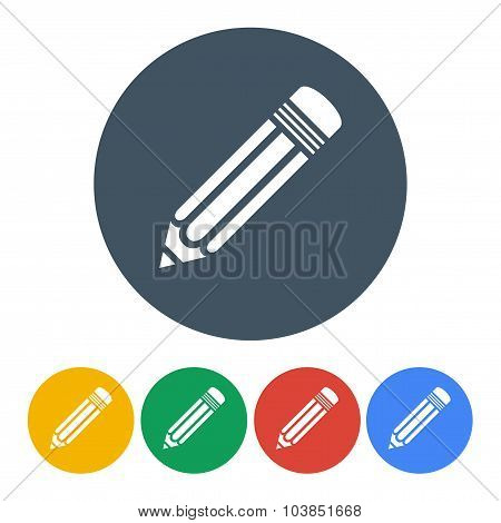 Set Pencils Icons In The Style Flat Design Isolated On White Background. Stock Vector Illustration E