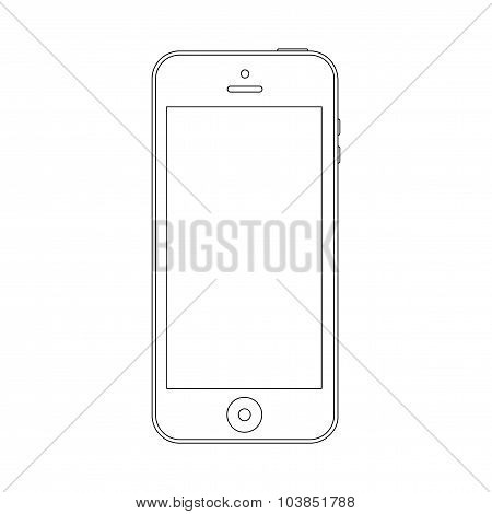 Smartphone Outline Icon Symbol On The White Background. Stock Vector Illustration Eps10