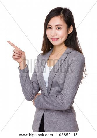 Asian businesswoman showing finger up