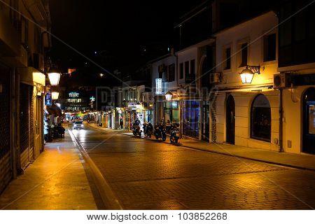 Ulcin; Montenegro, September, 27, 2015: Night landscape with the image of Ulcin; Montenegro